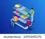 isometric phone programming... | Shutterstock .eps vector #1091045270