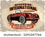 vintage car poster.car race. | Shutterstock .eps vector #1091047766