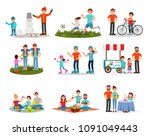 flat vector set of parents with ... | Shutterstock .eps vector #1091049443