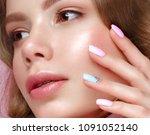beautiful girl with light make... | Shutterstock . vector #1091052140