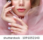 beautiful girl with light make... | Shutterstock . vector #1091052143
