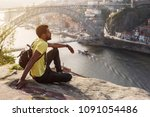 traveler man enjoying city view ... | Shutterstock . vector #1091054486