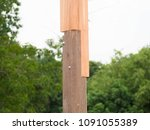 Small photo of Wood post, rabbet joint