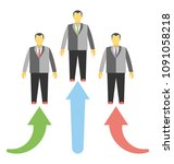 three people and arrows...   Shutterstock .eps vector #1091058218