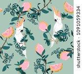 sweet pastel forest print....   Shutterstock .eps vector #1091059334