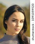 girl with long brunette hair...   Shutterstock . vector #1091059520