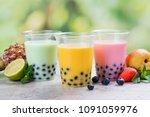 variety of homemade bubble tea...   Shutterstock . vector #1091059976