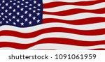 waving flag of the united... | Shutterstock .eps vector #1091061959