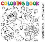 coloring book girl snorkel... | Shutterstock .eps vector #1091062169