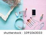 creative flat lay shopping cart ...   Shutterstock . vector #1091063033