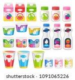 yogurt bottles and cups packs... | Shutterstock .eps vector #1091065226