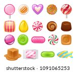 candies sweets set on white... | Shutterstock .eps vector #1091065253