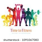 fitness concept illustration of ... | Shutterstock .eps vector #1091067083