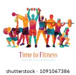 fitness concept illustration of ... | Shutterstock .eps vector #1091067386