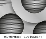 brushed metal circles on black... | Shutterstock . vector #1091068844