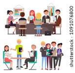 business meeting among young... | Shutterstock .eps vector #1091076800