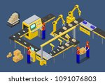 workers on factory of boxes... | Shutterstock .eps vector #1091076803