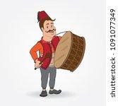 ramadan drummer vector  | Shutterstock .eps vector #1091077349