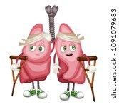 cartoon illustration of a sad... | Shutterstock .eps vector #1091079683