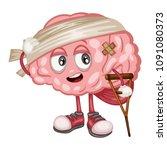 cartoon illustration of a sad... | Shutterstock .eps vector #1091080373