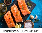 fresh fish. salmon fillet. | Shutterstock . vector #1091084189