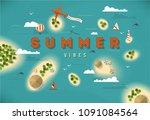 summer beach top view islands... | Shutterstock .eps vector #1091084564