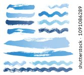 wave brush strokes vector set... | Shutterstock .eps vector #1091086289