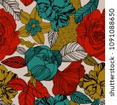 vector floral pattern in doodle ... | Shutterstock .eps vector #1091088650