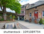 Small photo of Boppard, Germany - May 1, 2018: courtyard of Castle Rheinfels near St Goar. Middle Rhine, Germany