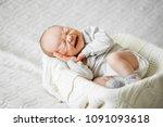 cries  baby on in  basket | Shutterstock . vector #1091093618