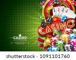 casino illustration with...   Shutterstock .eps vector #1091101760