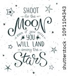 shoot for the moon poster hand... | Shutterstock .eps vector #1091104343