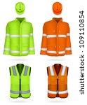 Safety Jacket  Vest And Hardhat.
