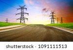empty highway and distant high... | Shutterstock . vector #1091111513