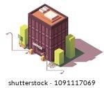 vector isometric modern office... | Shutterstock .eps vector #1091117069