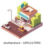 vector isometric tourist... | Shutterstock .eps vector #1091117090