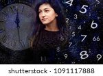 woman  numerology world and time | Shutterstock . vector #1091117888
