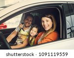family buying a new car in the... | Shutterstock . vector #1091119559