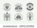 set of vintage snowboarding ... | Shutterstock .eps vector #1091123396