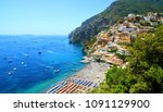 view on positano on amalfi... | Shutterstock . vector #1091129900