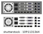 set of computer parts and... | Shutterstock .eps vector #1091131364