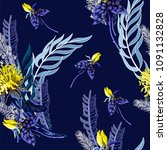 seamless pattern with tropical...   Shutterstock .eps vector #1091132828