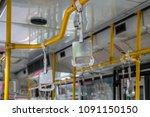 handles for standing passenger...   Shutterstock . vector #1091150150