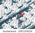 3d map isometric city of... | Shutterstock .eps vector #1091154524