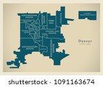 modern city map   denver... | Shutterstock .eps vector #1091163674