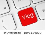 red button with vlog word on... | Shutterstock . vector #1091164070