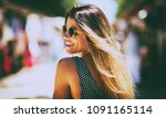 young beautiful woman wearing... | Shutterstock . vector #1091165114