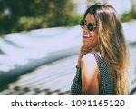 young beautiful woman wearing... | Shutterstock . vector #1091165120