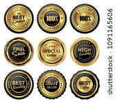 luxury gold badges and labels... | Shutterstock .eps vector #1091165606