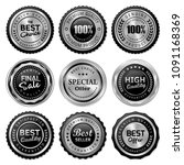luxury silver badge and label... | Shutterstock .eps vector #1091168369